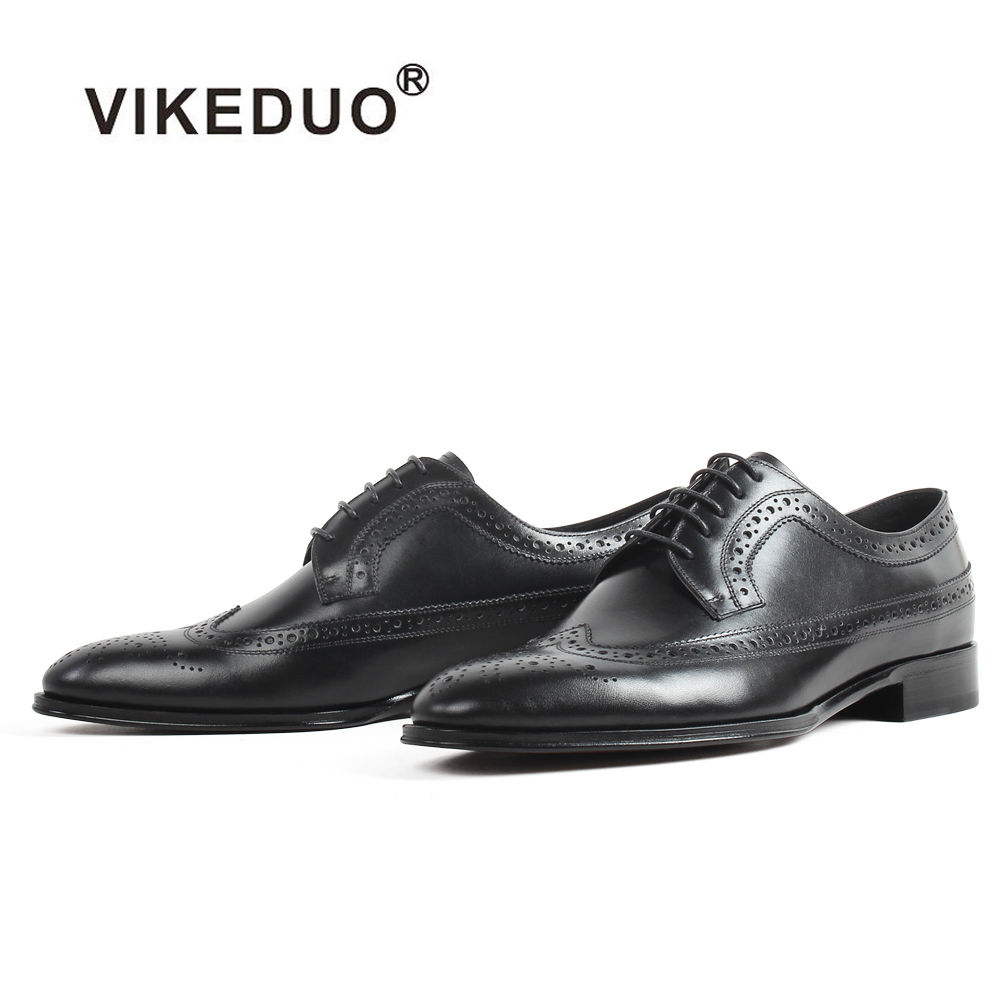 цена Handmade VIKEDUO 2018 New Blake Shoes Men Black Full Brogue Shoe Wedding Office Formal Footwear Patina Derby Zapatos de Hombre