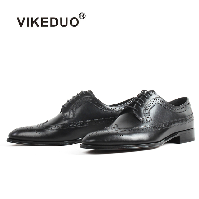 Handmade VIKEDUO 2019 New Blake Shoes Men Black Full Brogue Shoe Wedding Office Formal Footwear Patina Derby Zapatos de Hombre