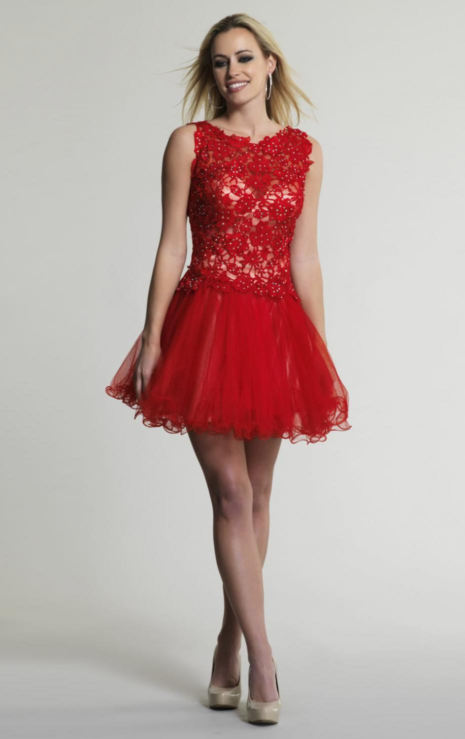 Puffy Red Knee Length Dresses - Dress images