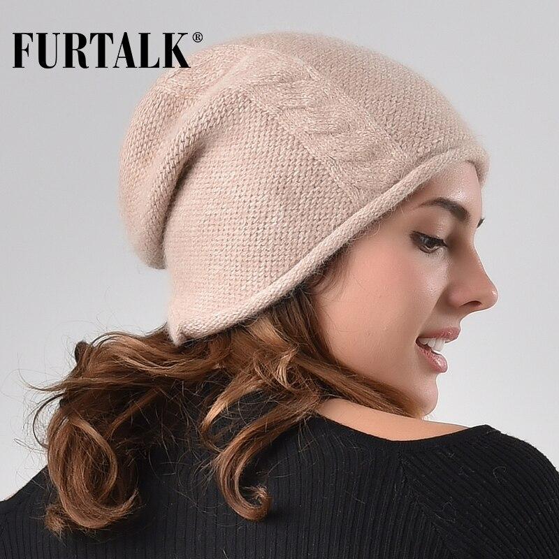 FURTALK Cashmere Rabbit Fur Winter Beanie Hat Women Knitted Slouchy Beanie Hats For Girls Skullies Hat For Female