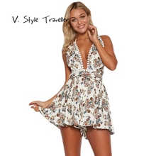 Casual Floral Print Playsuit Deep V Camis Sexy Bodysuit Women Shorts Bandage Backless Boho Jumpsuit vestido Summer Style Romper
