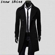 Snowshine #3001 Зима Мужчины Тонкий Стильный Пальто Двубортный Длинный Жакет Куртка бесплатная доставка