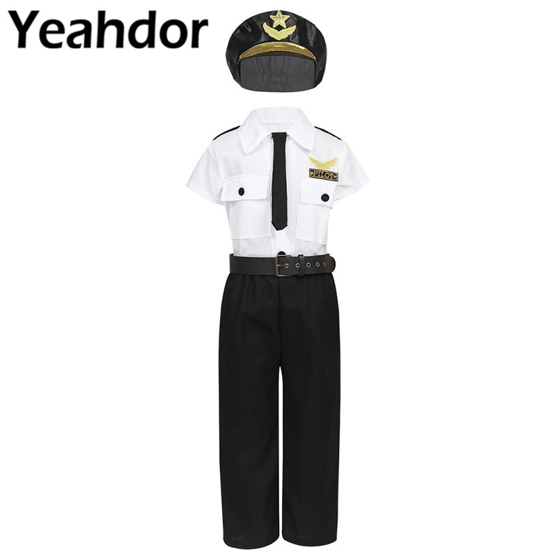Pilot Shirt 3 Piece White Short Sleeved Costume Shirt Necktie /& Hat