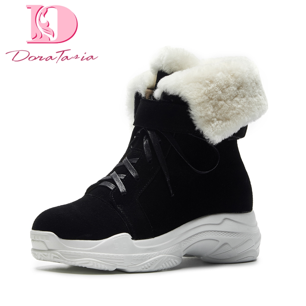 Doratasia Brand dropship cow suede leather warm plush Russia winter snow boots women shoes ankle boots woman sneakers shoes
