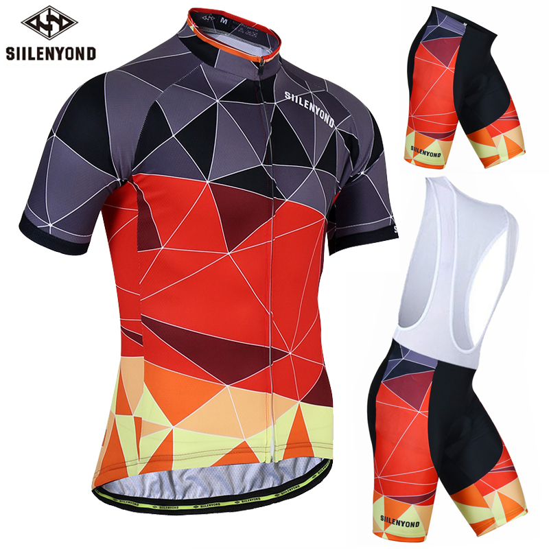 Siilenyond Anti-UV Pro Summer Cycling Jersey Set Men MTB Bicycle Cycling Clothing Suit Breathable Racing Bike Bib Clothes Suit aubig cool unisex ladies men summer breathable elasctisch cycling clothing full zip jerseys radshorts suit