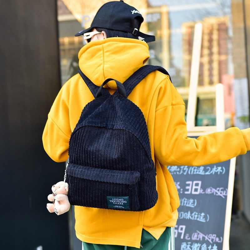 Школьная сумка для девочки винтажная Вельветовая однотонная дорожная рюкзаки в полоску с помпоном милая сумка на плечо Mochila Escolar Feminina Sac A Dos