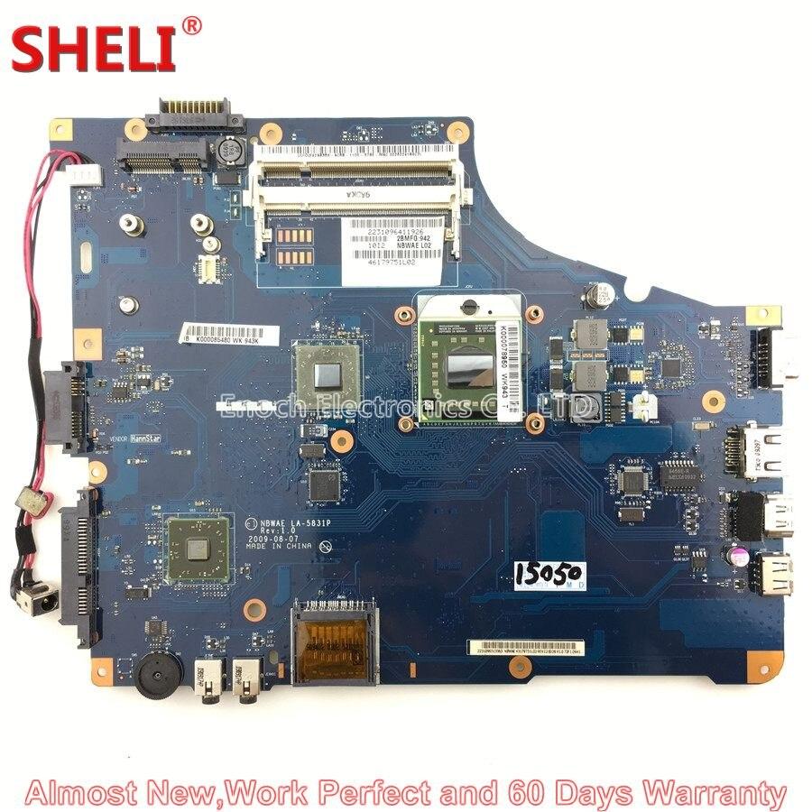 цена на SHELI K000085480 NBWAE LA-5831P Laptop Motherboard For Toshiba Satellite L450D L455D Series System Board Main Board Work Perfect