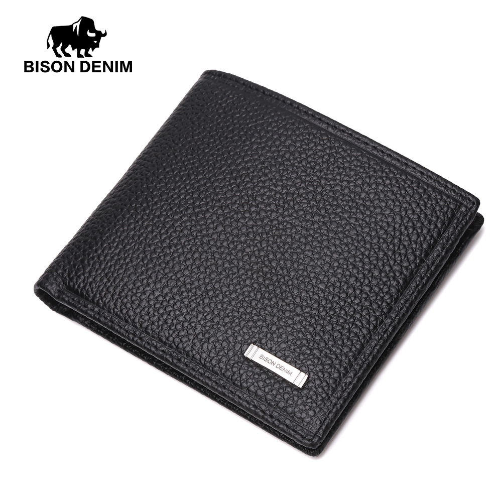BISON DENIM Men Genuine Leather Wallet Soft Short Wallet Business Casual Men's Card Holder Black Purse For Men N4357