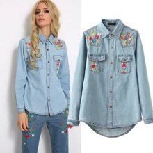 2016 NEW women denim jacket casual denim shirt tops long sleeves blue vintage boho hippie chic embroidery coat women clothing