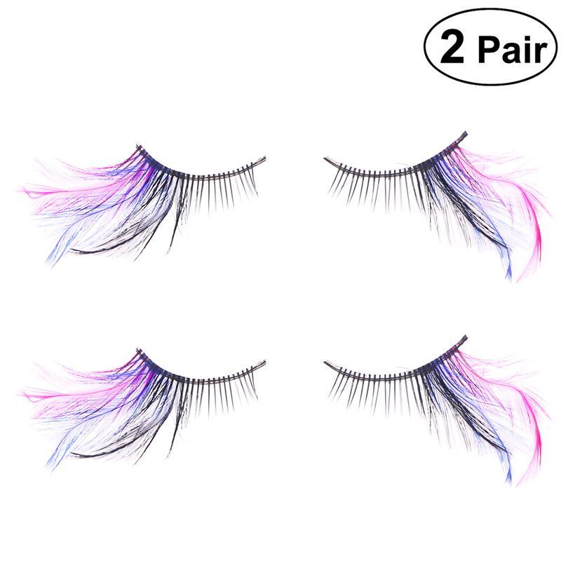 2 Pair Colorful Long Feather Fake Eyelashes Costume Party Eye Lashes False Eyelashes