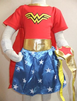 3-7 years Party decoration chrismas short sleeves Wonder woman superman skirt Cosplay & (shawls+scarf+wristbands) size:S-XXL