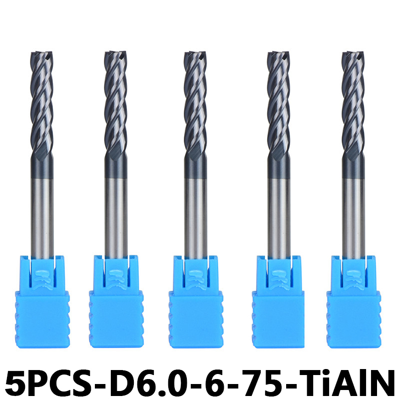 4-Flute Flattened Head Milling Cutters 5pcs/lot D6-6-75 Tungsten Steel End Mills Carbide End mills HRC45 With Straight Shank(China)