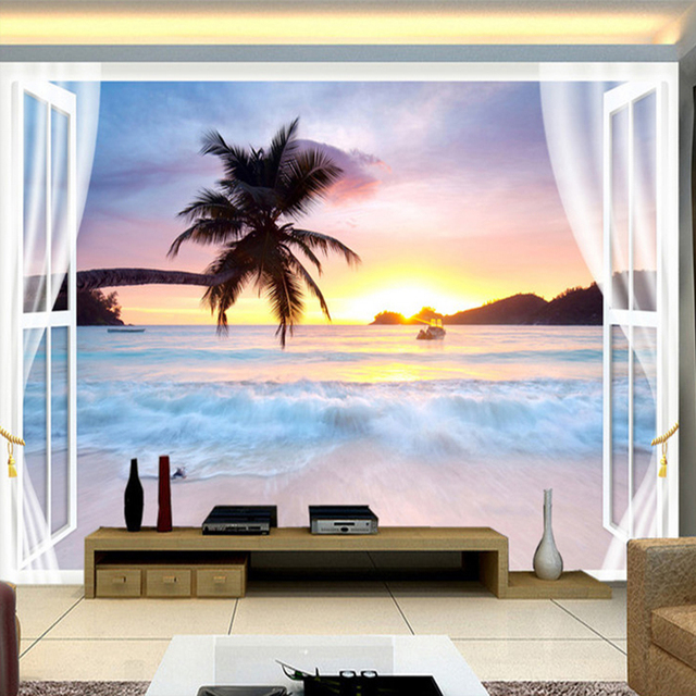 Custom Wall Mural Paper Window Seaside Sunset Natural Scenery 3D  Stereoscopic TV Background Wall Painting Wallpaper Part 83