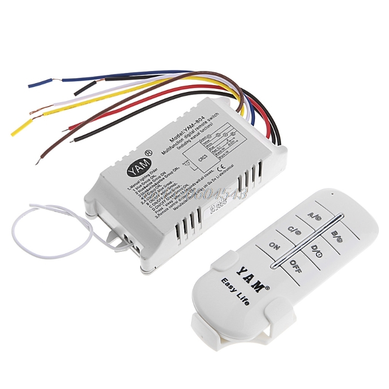 220V 1/2/3/4 Ways Wireless ON/OFF Lamp Remote Control Switch Receiver Transmitter R06 Whosale&DropShip
