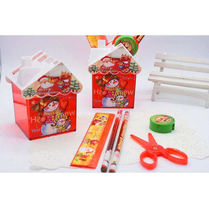 2 Sets/Lot Cute Snow Man Santa Claus Stationery Set Christmas Gifts Pencil Ruler Scissors Sharpener For School Student Children