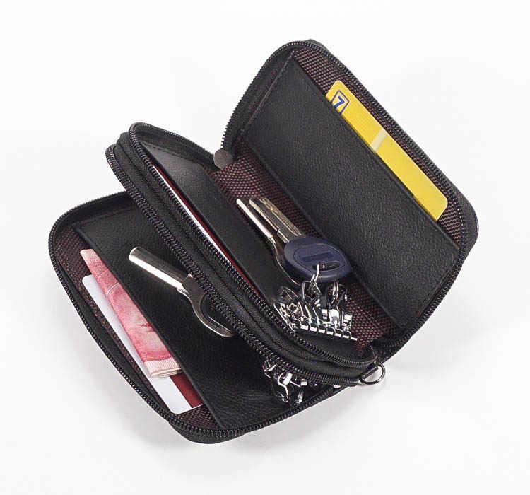 Mężczyźni torba ze skóry naturalnej monety kiesy podwójny zamek błyskawiczny etui na klucze moda kobiety gospodyni karty uchwyty na klucze brelok etui torebka