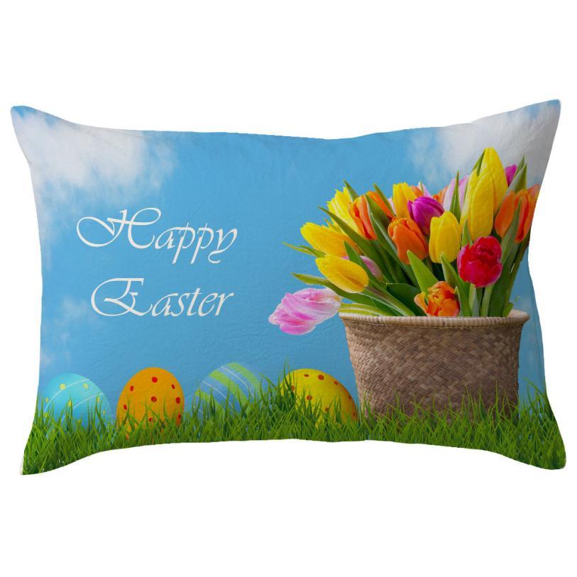 Happy Easter Eggs Linen Throw Pillow Case Easter Bunny Pillow Cover Decorative Pillows For Sofa Cushion Cover 30X50cm Home decor