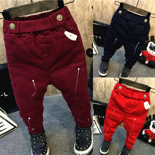 2016 winter children's clothes boys jeans denim black wine thicken fleece boy jeans for boys big kids long trousers causal jeans