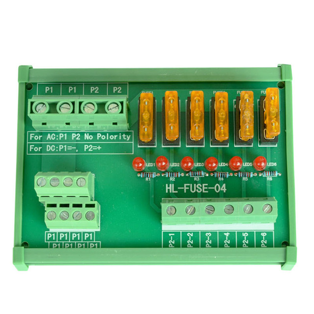 DIN Rail Mount 6 Position Power Distribution Fuse Module Board, For AC/DC 5~32V.