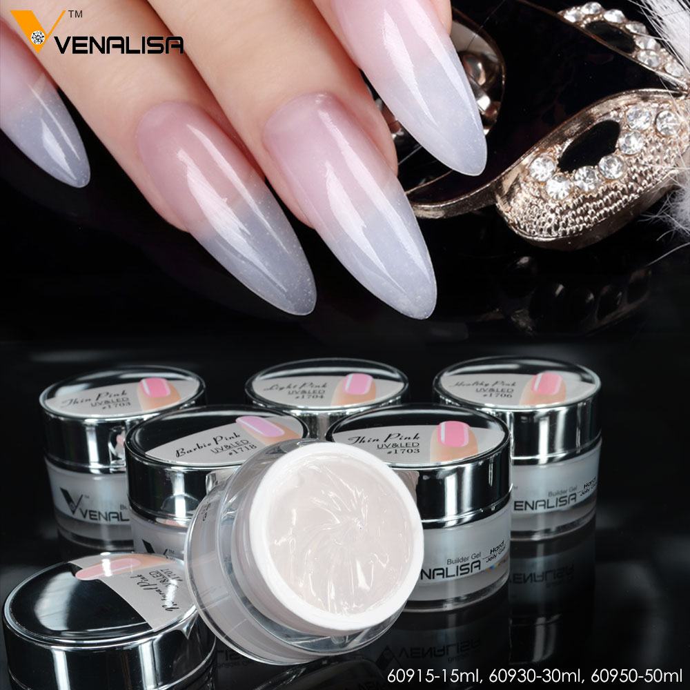 #60930 VENALISA 30ml 24 Color CANNI Nail Art Manicure Clear Pink Natural Camouflage Hard Jelly Builder French Nail Extend Gel