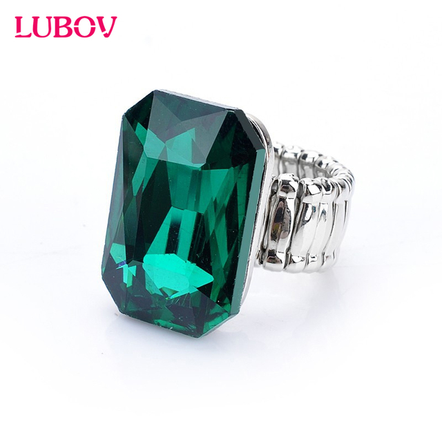 Personality Elegant Big Ring for Women 7 Colors Big Glass Stone Fashion Elastic Stretch Finger Rings Jewelry Christmas Gift 2018