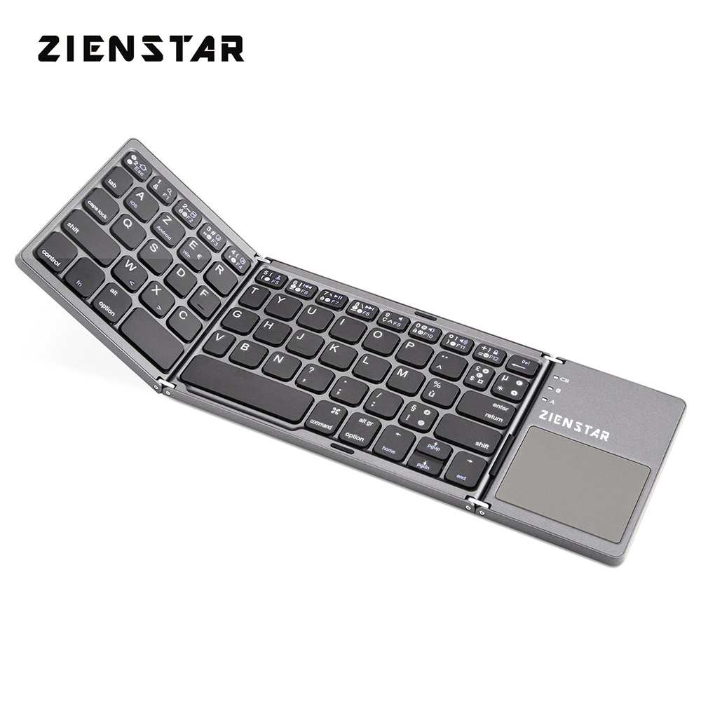 Zienstar AZERTY French Foldable Wireless Bluetooth Keyboard with Ttouchpad for ipad/Iphone/Macbook/PC computer/Android tablet lofree dot bluetooth mechanical keyboard wireless backlit round button for ipad iphone macbook pc computer android tablet