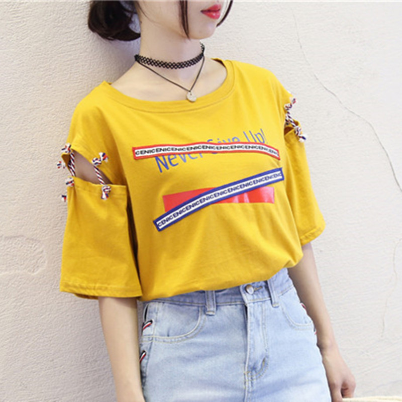 Short-Sleeved T-Shirt Female New Korean Harajuku BF Style Loose Summer Women Tops 2018 Black Yellow White Lace up Tshirts M-2XL