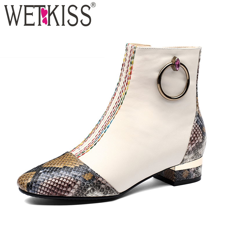 WETKISS Thick Low Heels Women Ankle Boots Zip Square Toe Footwear Print Female Boot Fashion Leather Shoes Woman 2018 Winter New wetkiss genuine leather ankle boots women patent square toe zipper female boot autumn thick high heels winter boots woman shoes