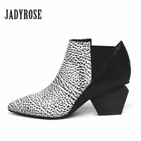 Jady Rose Casual Women Chunky High Heels Shoes Leather Feminina Elastic Band Ankle Boots Women's Slip On Winter Autumn New Pumps