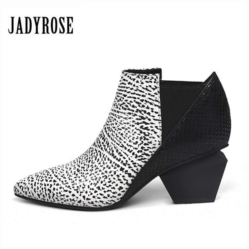 купить Jady Rose Casual Women Chunky High Heels Shoes Leather Feminina Elastic Band Ankle Boots Women's Slip On Winter Autumn New Pumps недорого