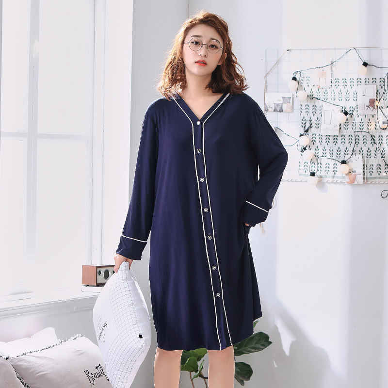 Women Oversize Nightgown Modal Cotton Soft Sleep dress V-Neck Loose Plus Size 4XL 5XL 6XL Summer Sleepwear Home Clothing  2