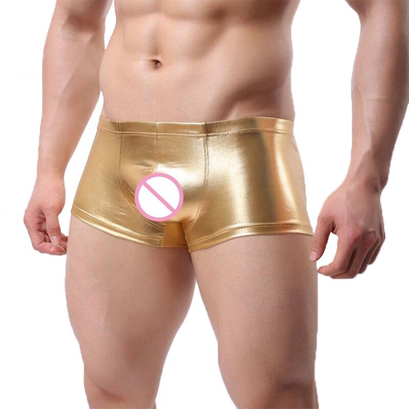 Plus Size Boxers Black/Golden/Silver Sexy Men Low Rise PU Faux Leather U Bulge Underwear Boxers Shorts Cool Underpants Cueca