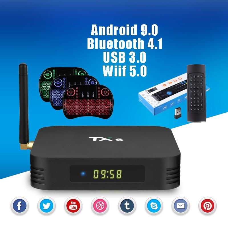 TX6 Android 9.0 Bluetooth 4.1 TV Box 4G DDR3 32G 64G USB 3.0 2.4G 5G Wifi Set-top TV Box H.265 4K HD SPDIF IPTV Media PlayerTX6 Android 9.0 Bluetooth 4.1 TV Box 4G DDR3 32G 64G USB 3.0 2.4G 5G Wifi Set-top TV Box H.265 4K HD SPDIF IPTV Media Player