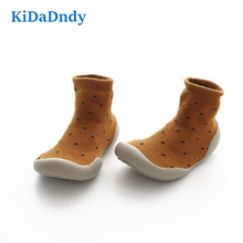 KiDaDndy 1 Pair Cotton Non Slip Baby Shoes With Rubber Sole Warm Villus Soft Toddler Sock For Winter SO500
