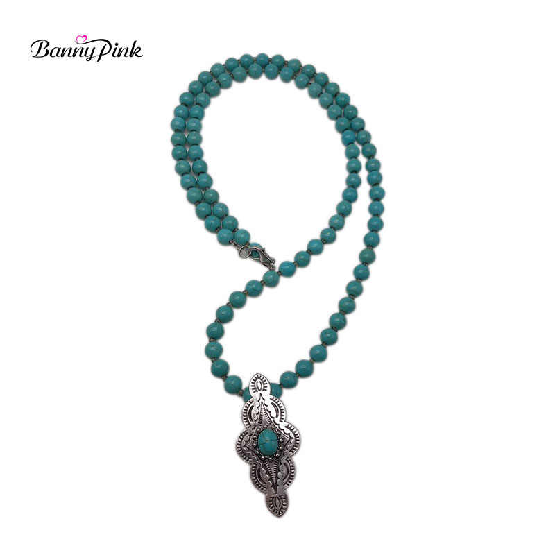 Banny Pink Hand Knotted Stone Strand Necklace For Women Tribal Geo Pendant Necklace Ethnic Round Beads Sweater Chain Colliers