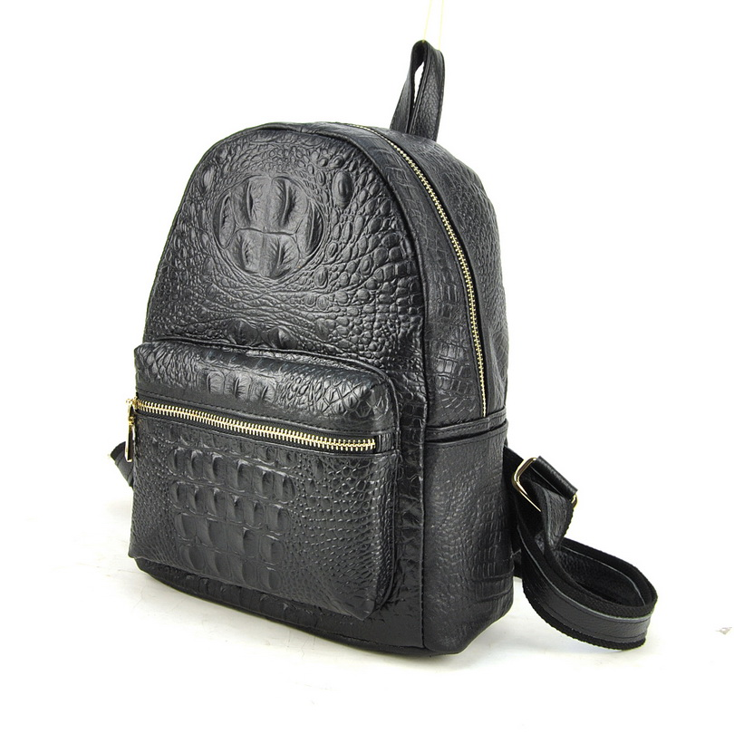 Women Genuine Real Cow Leather Backpack Shoulder Bag Crocodile Alligator School Book Travel Daily Casual Punk Rock Vintage Retro chic canvas leather british europe student shopping retro school book college laptop everyday travel daily middle size backpack