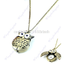 Hot Sale 1pc Bronze Cute Open Close Wing Owl Pendant Necklace Chain Quartz Pocket Watch Gift