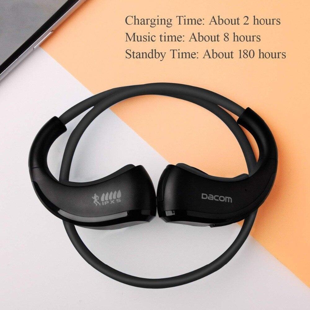 Dacom armadura impermeable del deporte auriculares inalámbricos auriculares Bluetooth auricular de Audio estéreo de auriculares con micrófono de manos libres para correr - 4