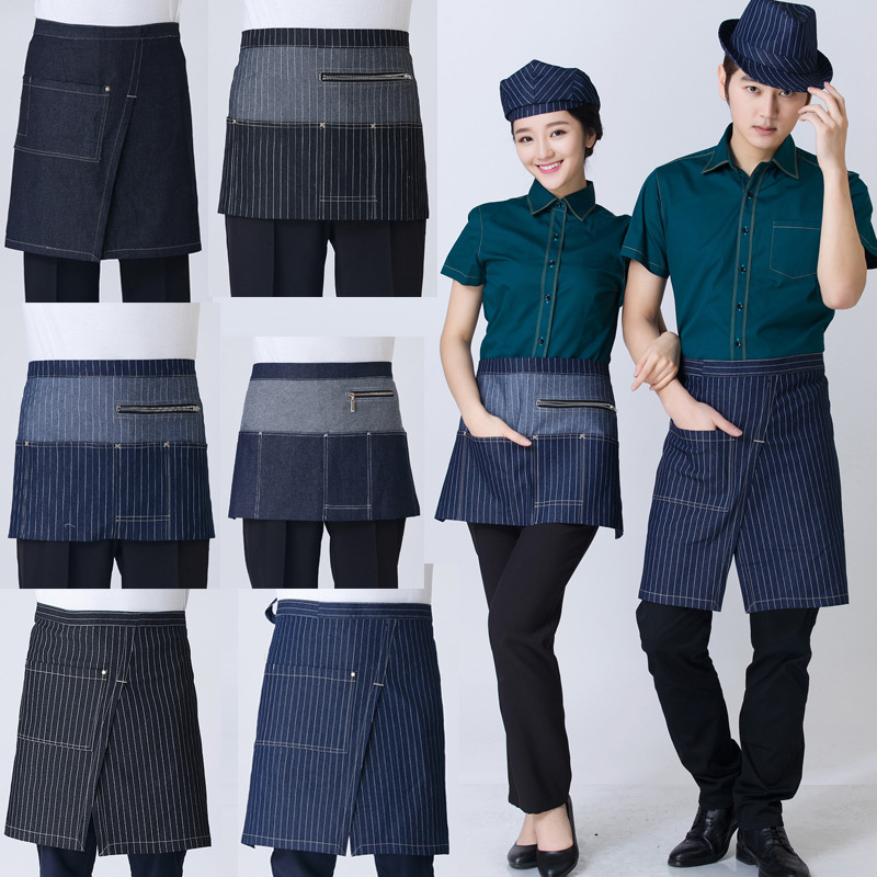 Short Waist Fashion zipper Denim Apron Jean for Women Men coffee shop and hairdresser cooking apron bib