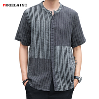 Flax Men's Shirts Striped Pacthwork Linen Cotton Short Sleeve Shirt For Man Flax Shirt White Linen Asian size M 3XL A443 CS3114