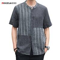 Flax Men's Shirts Striped Pacthwork Linen Cotton Short Sleeve Shirt For Man Flax Shirt White Linen Asian size M 3XL A443 CS3114
