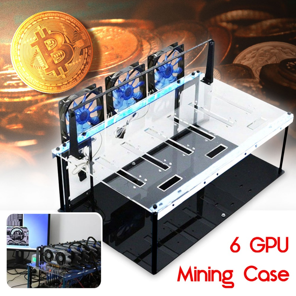 New Steel Coin Acrylic 6 GPU Open Air Mining Frame Rig Case 6 Graphics Card ETH LTC BTC Ethereum Computer Case Towers