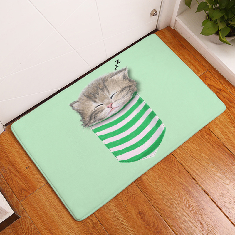 HomeMiYN New 2018 Bath Mat Green Sleep Cat Bath Rug Door Mats Outdoor Entrance Flannel Cartoon Non Slip Printed Home Floor Pads