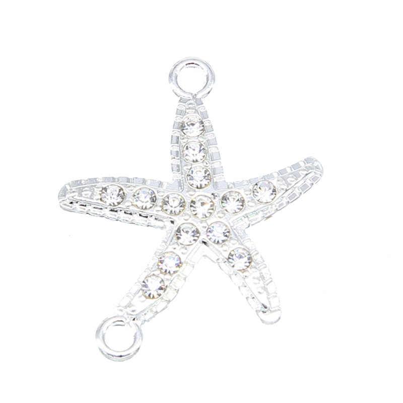 6 adet bayanlar bilezik küpe DIY üretim malzemeleri beş köşeli yıldız bağlayıcı charm denizyıldızı çift sallanan takı aksesuar
