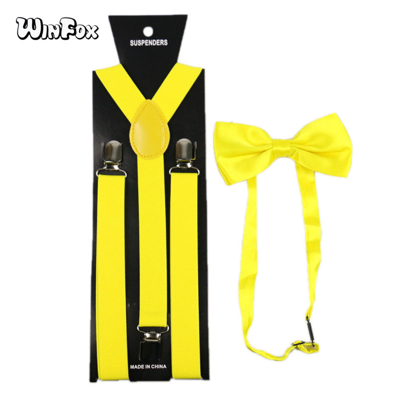 Winfox Fashion Yellow 2.5cm Wide Suspenders Bowtie Men Women Braces Elastic Suspenders Bow Tie Set
