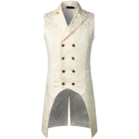 Mens Gothic Steampunk Vest Double Breasted Sleeveless Jacquard Tailcoat Medieval Victorian Cosplay Dress Vest Stage Costume XXL