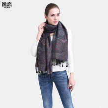 YI LIAN Brand New Arrival Elegant Flower Cotton Scarf Oversize Scarves Fashion Square Pashmina 185*70cm JB006