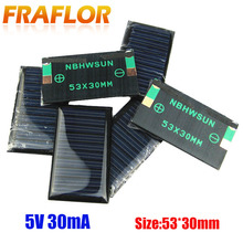 100 pcs/Lot livraison gratuite en gros 5V 30mA 53*30mm Mini cellules solaires panneau solaire bricolage 3.6V chargeur de batterie Kits déducation