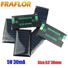 100pcs/Lot Free Shipping Wholesale 5V 30mA 53*30mm Mini Solar Cells Solar Panel DIY 3.6V Battery Charger Education Kits