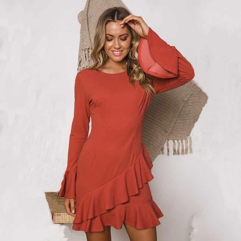 7a67493e568 DeRuiLaDy женское сексуальное круглым вырезом оборками Мини платье женские  элегантный длинным рукавом платья 2018 осень зима